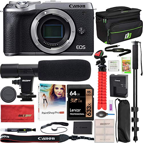 Canon EOS M6 Mark II 2 Mirrorless Digital Camera Body Only Silver 3612C001 Bundle with Deco Gear Gadget Bag Case + Condenser Microphone + Monopod + 64GB Memory Card + Software & Accessories