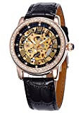 Carrie Hughes fashion Automatic Watch Mechanical Skeleton Luminous pointer and leather strap Gift Box CH9592GL
