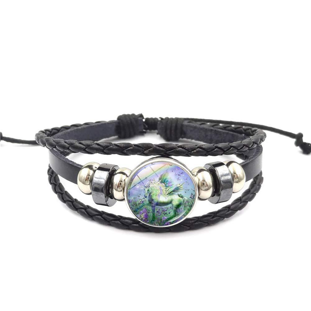 HOBULL Unicorn Pegasus Time Gemstone Bracelet Charm Leather Braided Bracelet Wristband Bangle