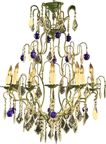 New Italian Cut Glass Maria Theresa Style 12 Arm Chandelier Murano Blue Apples