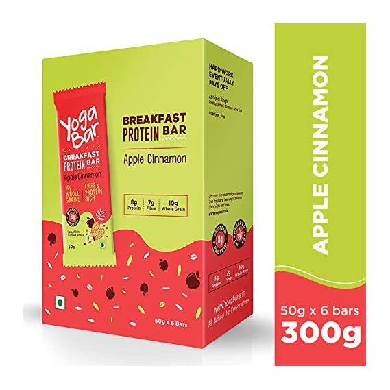 Yogabar Breakfast Protein Apple Cinnamon Bars - 300gm, 50g x 6 Bars