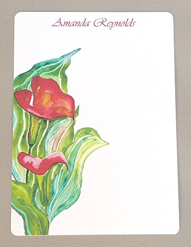 Complete Red Calla Lily Women's Watercolor Personalized Flat Note Card Set With Envelopes, Monogrammed Stationery, Girl's Monogram Stationary Kit, Thank You Cards