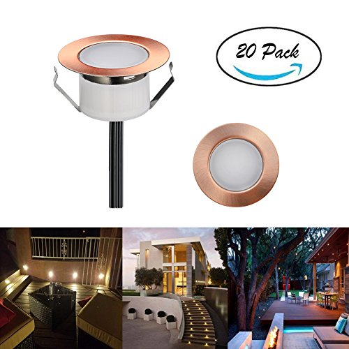 FVTLED Pack of 20 Low Voltage LED Deck Lighting Kit Stainless Steel Waterproof Outdoor Landscape Garden Yard Patio Step Decoration Lamp LED In-ground Light, Bronze (20pcs, Warm White)