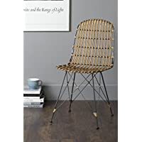 East at Main Dover Brown Rattan Square Dining Chair, (20 L x 19 W x 34 H)