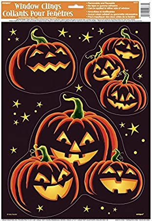 pumpkin grin halloween window cling sheet - Halloween Window Clings