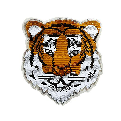 Tiger Reversible Patch, Sew On Patch Applique Glitter Sequin Gold Tiger Clothes Dress Plant Hat Jeans Sewing Applique DIY Accessory