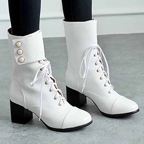Biker Women Up Heel Shoes Buckle Lace Boots Ankle Block Boots For Chunky White AIYOUMEI Heeled Womens wq7RFzF