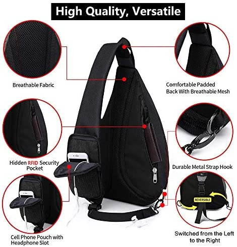 KAKA Sling Bag, Crossbody Backpack Canvas Waterproof Daypack Casual Shoulder Bag Traveling Hiking Camping for Men and Women (LARGER GRAY