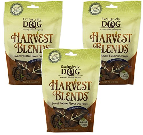 (3 Pack) Exclusively Dog Harvest Blends Sweet Potato Flavored Treats, 7-Ounce Pouches by Exclusively Dog