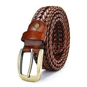 VOGARD Men's Genuine Braided Leather Belt (Free Size)