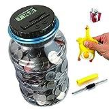 OLICTA Piggy Bank Digital Counting Coin Bank Creative Large Money Saving Box Jar Bank LCD Display Coins Saving Gift (Dollar) (Black-Blue)