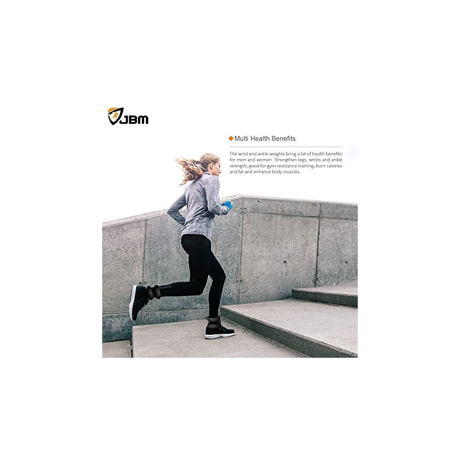 JBM Ankle Weights Wrist Leg Weights Sand Filling 2lb 4lb 6lb (1 Pair) Adjustable Straps for Walking Jogging Gym Fitness Exercise Gymnastics Aerobics 4 Colours