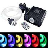 45W Fibre Optic Ceiling Lights Star Kit, LED RGBW DMX Engine Driver with RF 28 Key Remote Control 0.03in/0.75mm 13.1ft/4m 800PCS + Crystal