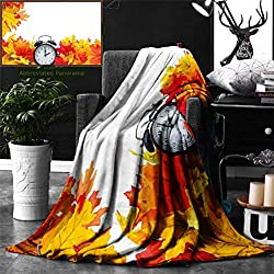 Unique Custom Digital Print Flannel Blankets Clock Decor Autumn Leaves and an Alarm Clock Fall Season Theme Romantic Digital Pr Super Soft Blanketry for Bed Couch, Throw Blanket 70 x 50 Inches