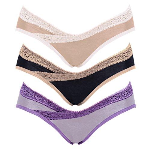 Intimate Portal Women Under the Bump Maternity Panties Pregnancy Underwear 3-Pk Purple Black Beige XL