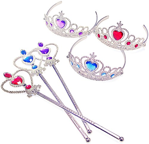 Princess Accessories - Costume Tiara - Kids Tiaras w/ Wands by Funny Party Hats (Wand Jeweled)