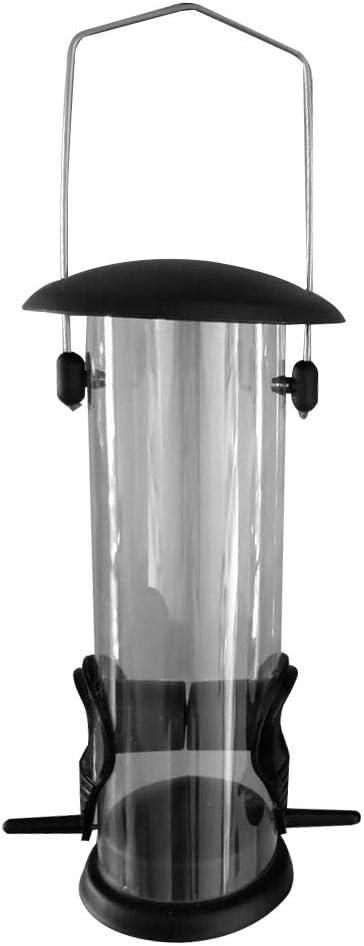 Teckey Alimentador Colgante para Pájaros Silvestres, Alimentador De Gusanos De Harina con Cubierta De Hierro Dispensador Inferior De Alimentos para Pájaros PVC Ecológico