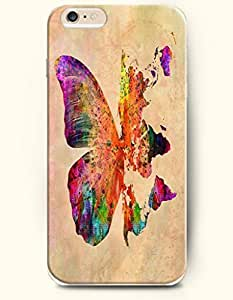 OOFIT Hard Phone Case for Apple iPhone 6 ( 4.7 inches) - Butterfly And World Map - Oil Painting