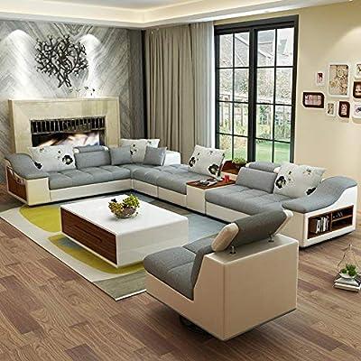 Amazon.com: My Aashis Luxury Modern U Shaped Leather Fabric Corner ...