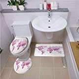 Non Slip Bath Shower Rug,Light Pink,Cute World Map Continents Island Land Pacific Atlas Europe America Africa Decorative,White Light Pink,U-Shaped Toilet Mat