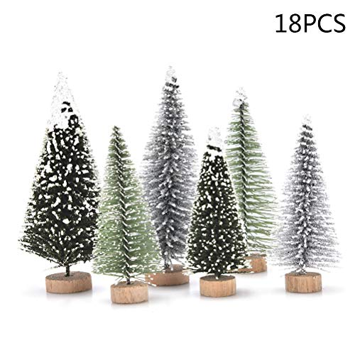 JUNKE 18 PCS Miniature Christmas Tree Small Artificial Miniatures Sisal Snow Frost Trees, Diorama Models, Micro Scenery Landscape Architecture Trees Christmas Crafts Tabletop Decor