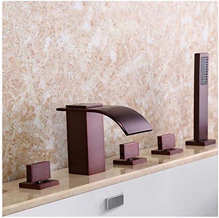 温水と冷水を備えた滝の浴槽の蛇口5穴3ハンドル3ハンドルバスルームの浴槽の蛇口デッキマウントバスシャワーミキサータップハンドヘルドシャワー、ORB