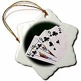 3dRose Alexis Photo-Art - Poker Hands - Poker Hands Flush Spades - 3 inch Snowflake Porcelain Ornament (orn_270316_1)