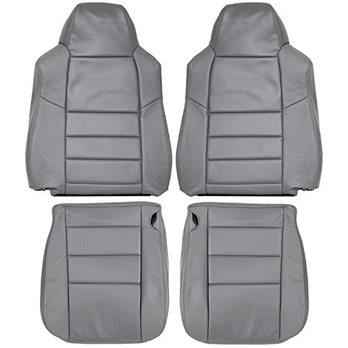 2002-2007 Ford F250 F350 Lariat Genuine Leather Seats Cover Custom Made (Front)Dove Grey