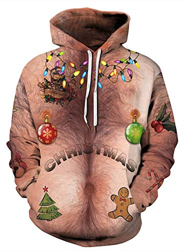 GLUDEAR Unisex Funny Print Ugly Christmas Hoodies Coat Loose Casual Sweatshirts Pocket,Christmas Light,L/XL (Boys Ugly Christmas Sweater)