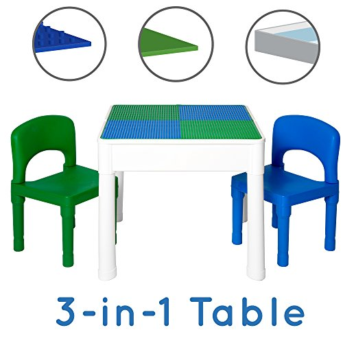 Play Platoon Kids Activity Table Set - 3 in 1 Water Table, Craft Table and Building Brick Table with Storage - Includes 2 Chairs and 25 Jumbo Bricks - Blue and Green - Imaginative Activities