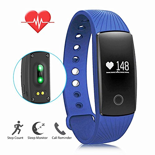 LENDOO ID107 Heart Rate Monitor, Bluetooth 4.0 Smart Bracelet Activity Fitness Tracker Sleep Monitor HR Wristband for Android & IOS Smart Phones as Unique Christmas Present (Blue)
