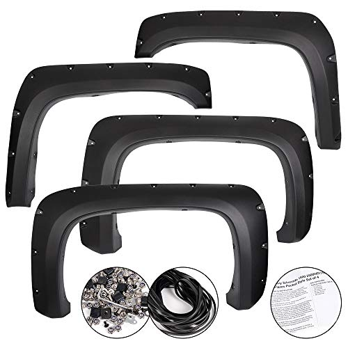VRracing New Fender Flares Kit Fit for 2007-2013 Chevy Silverado 1500 2500HD/3500HD Pocket Rivet Style Textured Black Finish Front & Rear Tire Cover 4PCS Set
