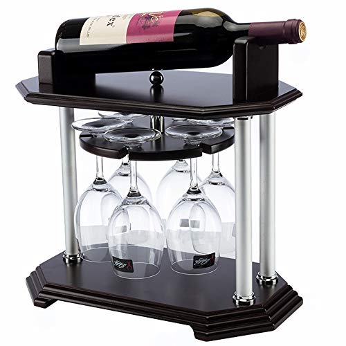 GEPFD-WINRK Rotating Wine Rack, Vintage Solid Wood Bar Display Stand, Home Decoration Wine Rack, Goblet Holder Wine Cabinet Decoration (36x22x35cm)