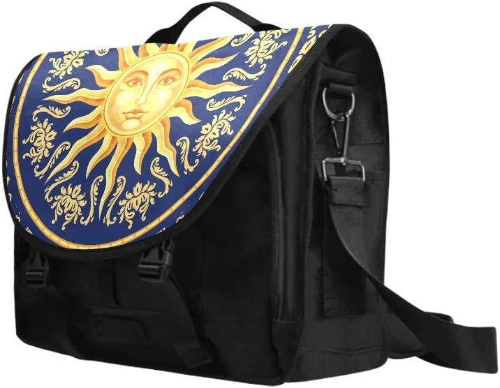 Laptop Carrying Bag Vector Celestial Baroque Blue and Gold Seamless Pa Multi-Functional Woman Shoulder Bag Fit for 15 Inch Computer Notebook MacBook