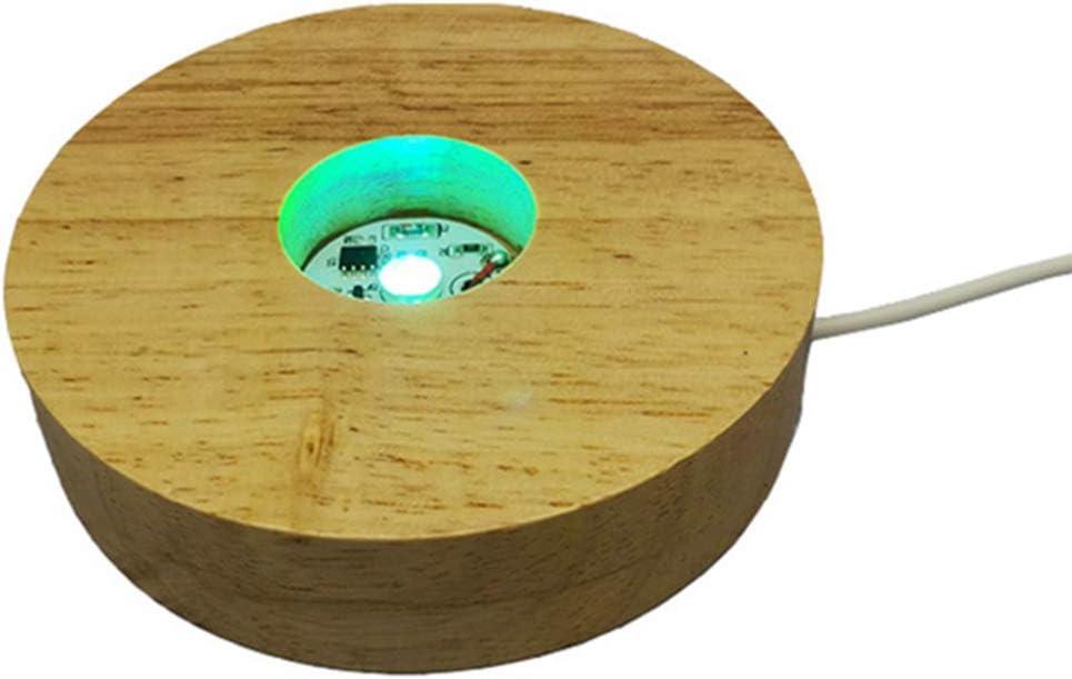 Base di luce LED in legno con base colorata per display da tavolo Mobestech