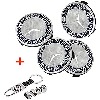 Luckily 4PCS 75mm//2.95 Wheel Center Hub Logo Caps Covers for Mercedes Benz with Bonus 4PCS Tire Valve Cover and 1 PC Keychain Fit for Benz New Blue