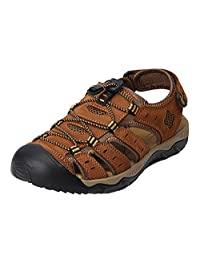 Bininbox Summer Men's Leather Athletic Sport Sandals Closed Toes Flats Shoes