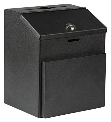 MCB ~ Metal Suggestion Box ~ with Lock for Wall Mount ~ Tabletop Use ~ Locking Hinged Lid ~ Pocket for Donation Forms or Envelopes