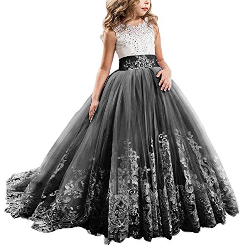 Flower Girl Dress Kids Lace Beaded Pageant Ball Maxi Gowns Long First Communion Prom Formal Birthday Dresses Black 8-9 Years