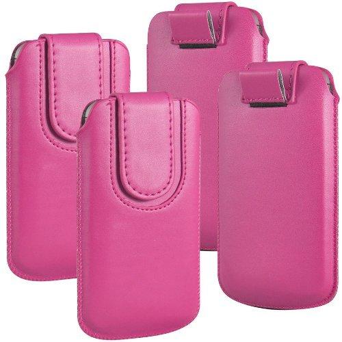N4U Online - Paquet Double - Apple Iphone 3GS bouton magnétique PU cuir Pull Tab protection étui couverture de peau - Rose Chaud