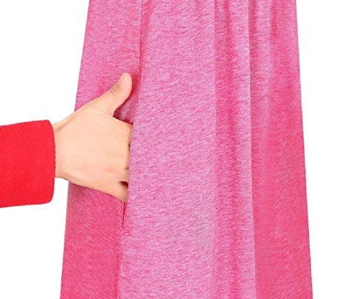 Merletti Coolred Donne Rosso Tasche Novità Manica 3 Vestito Vita Solidi 4 Delle ACqvIwH