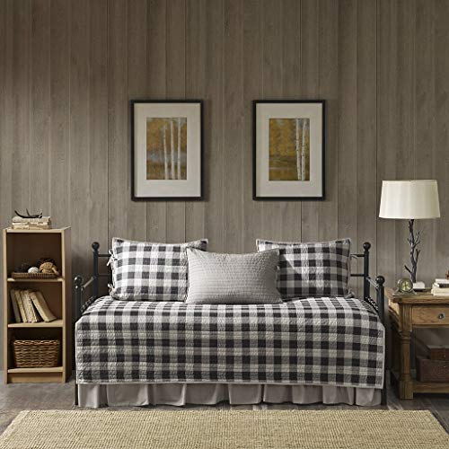 Woolrich Buffalo Check Daybed Size Quilt Bedding Set - Gray, Checker Plaid - 5 Piece Bedding Quilt Coverlets - 100% Cotton Bed Quilts Quilted Coverlet ()