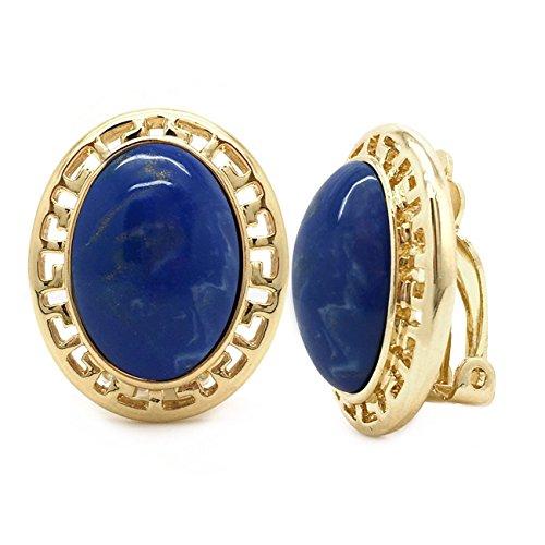 Clip On Earrings Blue Oval Greek Key Gold -