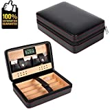 COMMODA Portable Genuine Leather Cedar Cigar Travel Case Cedar Humidor with Digital Hygrometer Cutter Stand Set Wooden Box ...