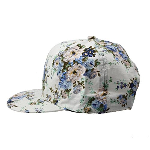 """Ussore 1PC Floral Hip-Hop Men""""s Women""""s Flat Adjustable Hat Casual Baseball Cap Hunting Fishing Army Hiking SunHat (Blue)"""