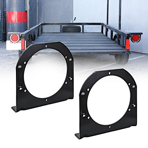 2PC 4 Round Tail Light L Shape Mounting Bracket [3mm Steel] [Reinforced Notches] [Powder Coated Steel] [Vertical or Horizontal Mounting] For Trailers - Fits Standard D.O.T 4 Round Tailights