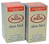Omega Potassium Alum Stick Natural Aftershave and Toner Pack of 2 by Omega