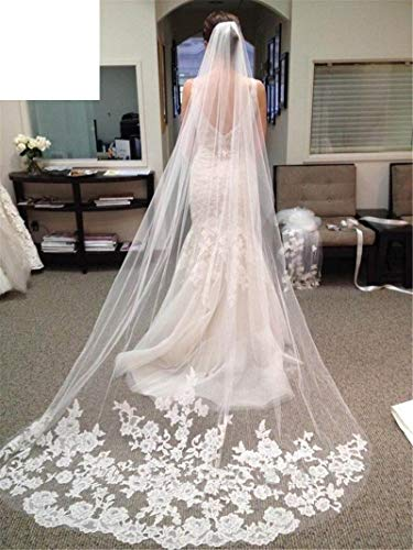 (Lace Wedding Long Veil White 3 Meters Wedding Veil With Comb Bridal Veils Mesh Veils For Bride WAS10048 WHITE)