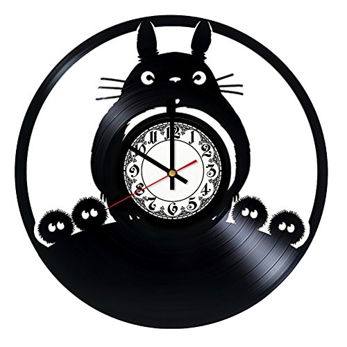 My Neighbor Totoro Studio Ghibli Handmade Vinyl Record Wall Clock - Get unique room wall decor - Gift ideas for his and her - Modern Unique Home Art Design