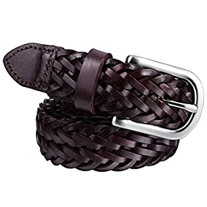 Mens Braided Leather Belt Pin Buckle Belt for Jeans and Dress - Best Gifts for Young Men and Women